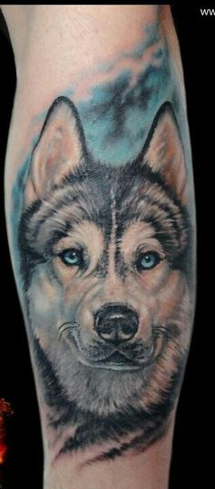 Amazing husky tattoo