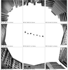 Creative Instagram Allowing the Bigger Pictures  Creative Ng Weijiang, living Singapour, owns an inspiring and innovating Instagram account. Under the pseudonyme @Orhganic, he captures big frescos made of several photos squares that we can admire on his profile. It gives very beautiful black and white clichés of architecture, portraits and his daily life.