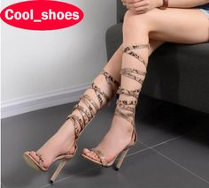 ==> [Free Shipping] Buy Best Sexy Serpentine Roman Shoes Women Cool Boots High Heels Summer Peep Toe Sandals Stiletto Pumps Fashion Cut Outs Party 574 Online with LOWEST Price   32807136650
