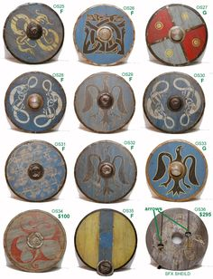 "Viking shields. I think these are from the movie ""Outlander"". Not period- no cover. Shields without a canvas, leather, or rawhide cover shatter, as some of my friends quickly learned while trying to fight with some..."