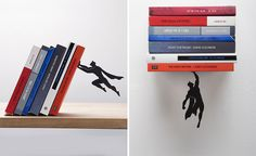 Created by the imaginative folks at Israeli design studio, Artori Design, are the Book And The Hero, and Supershelf – a pair of bookends that make it appear the books they're holding are being saved by a small, yet incredibly strong superhero.