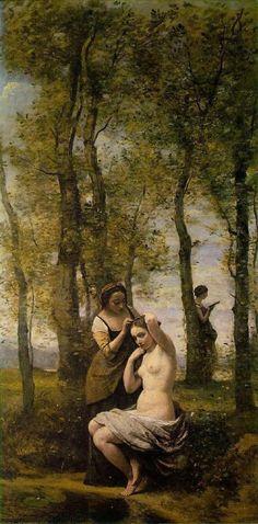 Jean-Baptiste-Camille Corot, La Toilette (Landscape with Figures), 1859 Art… Henri Fantin Latour, Art Français, Art Database, French Artists, Beautiful Paintings, Oeuvre D'art, Monet, Great Artists, Female Art