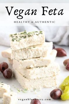 Firm, tangy, creamy, and crumbly, this vegan feta wins the test for 'best' in texture and flavor! A new gluten-free, nut-free, and guilt-free favorite! Made from a base of tofu and refined coconut oil, and thickened with agar powder, this creamy cheese is perfect crumbled over salads, veggie gyros, in spanakopita, and SO much more!#vegancheese Vegan Feta Cheese, Vegan Cheese Recipes, Delicious Vegan Recipes, Vegan Foods, Vegan Dishes, Vegan Snacks, Vegan Vegetarian, Vegan Raw, Paleo Diet