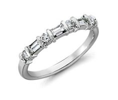Classic Round and Baguette Diamond Ring in Platinum (1/2 ct. tw.)