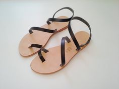 Sandals Genuine Greek Style Leather Sandals in BLACK by Sandelles