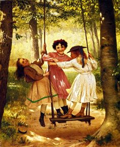 Friends illustration friends art kids swing past girls play painting Arte Country, Creation Photo, Three Sisters, Vintage Pictures, Vintage Children, Love Art, Vintage Art, Vintage Girls, Vintage Shoes