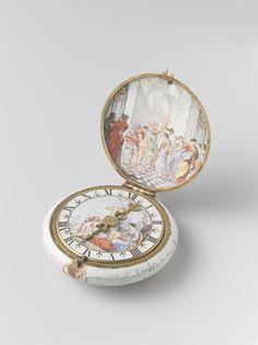 Pocket watch by Henri Toutin, Rijksmuseum, Public Domain. Antique Watches, Antique Clocks, Victorian Jewelry, Vintage Jewelry, Maria Stuart, Art Deco Watch, Pocket Watch Antique, Jewelry Collection, Watches For Men