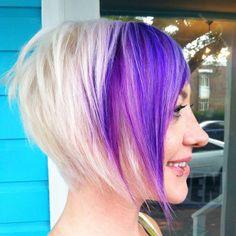 Purple platinum angled bob  Textured hair blonde hair style fashion short hairstyles