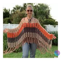 Boho Crochet Patterns, Hippie Crochet, Crochet Stitches, Crochet Shawl Diagram, Shawl Patterns, Freeform Crochet, Gilet Kimono, Crochet Clothes, Captain Hook