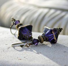 May Sale 10 off  Dark Violet  Lampwork Drop Earrings by lunarbelle, $27.00
