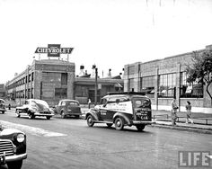The exterior of the Chevrolet Gear and Axle plant, the union car on the street. Detroit, MI