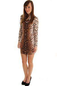 DHStyles Women's Sexy Animal Print Jersey Knit Sweater Dress