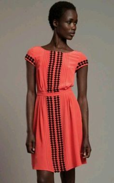 Tracy Reese Coral and Black Diamond Dress