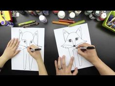 How To Draw A Fox - the kids are going to love this one! Art for kids hub. Drawing Videos For Kids, Easy Drawings For Kids, Kids Videos, Cartoon Drawings, Drawing Sketches, Art Drawings, Alphonse Mucha, Art Nouveau, Art For Kids Hub