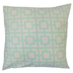 """The Pillow Collection Ianto Geometric Cotton Throw Pillow Color: Mint, Size: 18"""" x 18"""""""