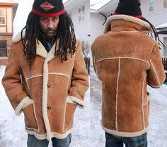 Marlboro Man RANCHER Shearling Sheepskin LAKELAND COAT Rugged Men's 42 Vintage Western Hippie Brown Genuine Leather Wool Winter Warm Jacket