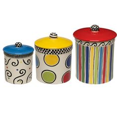 Love these canisters in primary colors and simple designs!