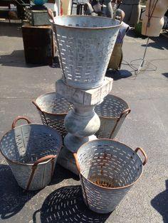 Olive Bucket Vintage Metal