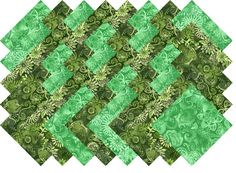 "Green Printed Batik Collection 40 Precut 5"" Quilting Fabric Squares"