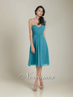 Blue Short One-Shoulder Bridesmaid Dress Accented With Ruffles NB2018