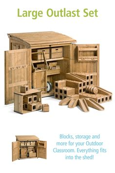Transform your outdoor space with our largest set of Outlast Blocks, 3 Crates, and a sturdy Wheelbarrow all packed in a waterproof, wooden storage shed. Outlast Blocks are a natural part of the outdoor classroom and a perfect way to engage children in constructive play. Click through to see the details.