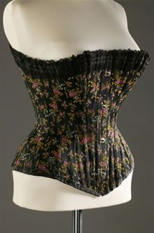 This corset dates from about 1890 to 1895. It is labelled 'Made in Brussels for Madame Worth's Corsets'.