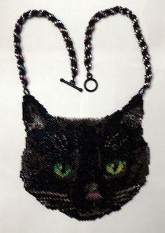 Black Cat peyote stitch necklace Pattern by greendragon9 on Etsy, $10.00