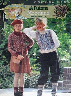 bf2ad724e2153 Vintage   retro knitting pattern Patons Moorland Shetland DK 7263 sweater   Patons