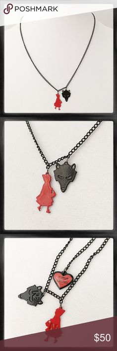 """Les Nereides Red Riding Hood & Wolf Necklace Bought at Les Nereides shop in Paris, France. Charms & tag stamped with N2, a line of whimsical jewelry that includes the collection Mon Panier En Sucre D Amour (All the better to eat you with, my dear!). Comes with red B2 bag & card. 'Like new' condition. Chain about 19"""" long. RARE. SO cute! Les Nereides Jewelry Necklaces"""