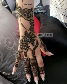 from - ‏ - Khafif Mehndi Design, Floral Henna Designs, Mehndi Design Pictures, Wedding Mehndi Designs, Henna Tattoo Designs, Mehndi Images, Latest Arabic Mehndi Designs, Stylish Mehndi Designs, Mehndi Designs For Girls