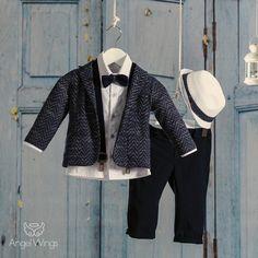 d3cf1190020 Βαπτιστικό ρούχο για αγόρι Angel Wings | Κοστούμι Λευκό - Μπλε Σκούρο