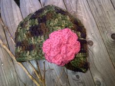Camo Girl Hat with Pink Accent Flower by mayberryhillcrochet, $15.00