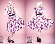 Hearts & Roses PLUS SIZE Pink Blossom Floral Vintage Rockabilly Swing Dress