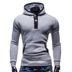 Fashion Hooded Color Block Splicing Button Design Slimming Long Sleeve Cotton Blend Hoodie For Men