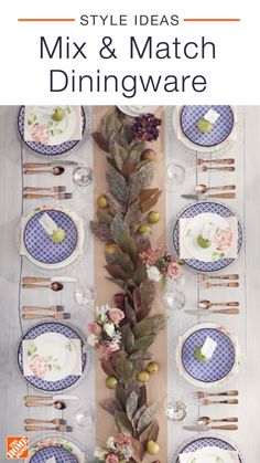 A full set of matching dinnerware is a classic look, but even mismatched plates can look gorgeous. Try pairing patterned plates with floral ones to bring a little fun to your next dinner party. Click to shop this beautiful floral tablescape.