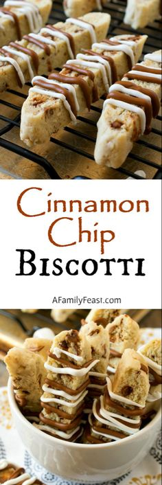 Cinnamon Chip Biscotti - A sweet and spicy biscotti filled with cinnamon chips and walnuts and a white chocolate, cinnamon drizzle on top. Its quick, easy and so delicious! Cookie Desserts, Just Desserts, Cookie Recipes, Delicious Desserts, Yummy Food, Cinnamon Desserts, Italian Cookies, Italian Desserts, Holiday Baking