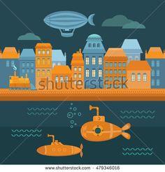 stock-vector-illustration-steampunk-city-with-houses-sea-submarine-airship-retro-train-vintage-background-479346016.jpg (450×470)