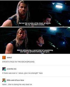 Thor is doing his very best. – Kayla Darksoul Thor is doing his very best. Thor is doing his very best. Marvel Jokes, Avengers Memes, Marvel Funny, Marvel Dc Comics, Marvel Avengers, Fandoms Unite, Loki Thor, Dc Memes, Stucky