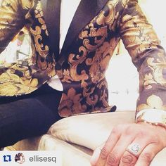 "Fits like a glove. Order your custom Cabaret by @ellisesq black and gold tuxedo jacket ""The Manhattan"" today... www.cabaretvintage.com"