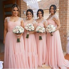 2017 New Long Pink Bridesmaid Dresses Sweetheart Cap Sleeves Lace Beaded Wedding Guest Wear Chiffon Party Dress Plus Size Maid of Honor Gown 2017 Bridesmaids Dresses Pink Bridesmaid Dresses Long Bridesmaids Dresses Online with 112.0/Piece on Haiyan4419's Store | DHgate.com