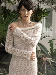WHITE DRESS from ROWAN Swarovski Evening (ZB188).The Evening Collection showcases eleven elegant designs which are the essence of glamour | English Yarns