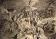 """Copy of the Central Panel of Tintoretto's """"Crucifixion"""" (1845) by John Ruskin"""