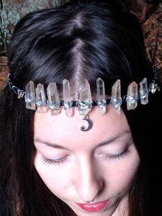 Pink Lemurian Seed Crystal Moon Goddess Ceremonial Crown (Black Band) by MaryJanePennyLane on Etsy https://www.etsy.com/listing/248024026/pink-lemurian-seed-crystal-moon-goddess