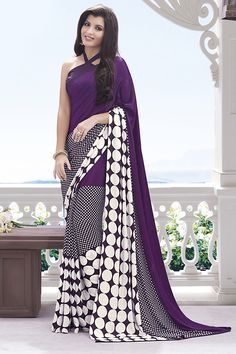 Violet crepe fabric designer printed saree with matching crepe blouse from Hdbazaar.