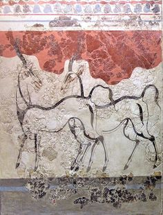 Fresco from Akrotiri: Antelopes. Akrotiri is a Minoan Bronze Age settlement on the volcanic Greek island of Santorini (Thera). The settlement was destroyed in the Theran eruption about 1500BC.
