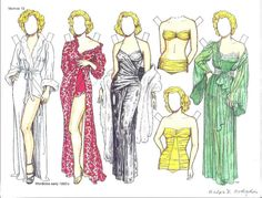 Marilyn Monroe paper doll clothes by Ralph Hodgdon
