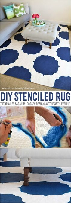 This DIY Stenciled Rug Tutorial is awesome and easy to follow! Can you believe this rug was hand painted? The possibilities are simply endless! Home decor just got better!