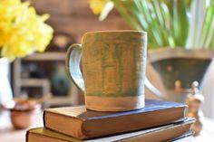 Tall ceramic mug patina green by PoppyRoadPotter on Etsy