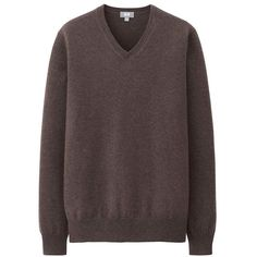 UNIQLO 100% Cashmere V-Neck Sweater (€39) ❤ liked on Polyvore featuring men's fashion, men's clothing and men's sweaters