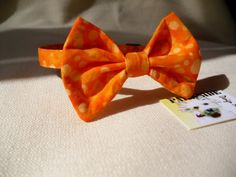 Halloween Orange Bow Tie Collar For Cats by parksidedesignstudio